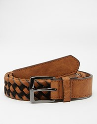 Asos Plaited Belt With Faux Leather And Suede Brown