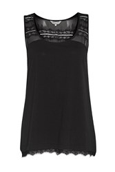 French Connection Featherweight Jersey Lace Tank Top Black