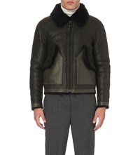 Coach Shearling And Leather Bomber Jacket Military