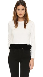 Edit Ruffled Hem Pullover White
