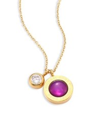 Michael Kors Purple Mother Of Pearl And Crystal Logo Pendant Necklace Gold Purple