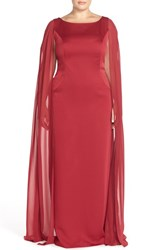 Plus Size Women's Adrianna Papell Satin Column Gown With Chiffon Cape