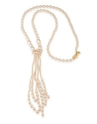 Carolee The High Line Peach Pearl Tassel Necklace Gold