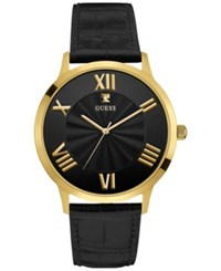 Guess Men's Diamond Accent Black Leather Strap Watch 43Mm U0794g1 Gold