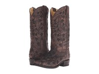 Stetson Desiree Snip Black Washed Vamp Cowboy Boots Brown