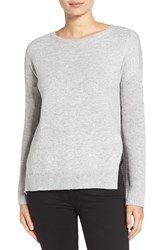 Trouve Women's Asymmetrical Hem Sweater Grey Light Heather