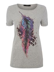 Oui Cotton T Shirt With Graphic Print Grey