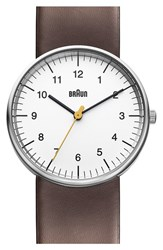 Men's Braun 'Classic' Leather Strap Watch 38Mm Brown White Silver