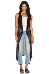 Bobi Mesh Sweater Sleeveless Long Cardigan Black