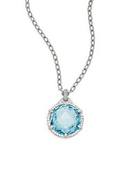 Judith Ripka Eclipse Blue Crystal White Sapphire And Sterling Silver Pendant Necklace Silver Blue
