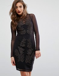 Miss Selfridge Bronze Embroidered Long Sleeve Dress Black