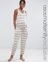 Asos Maternity Lounge Stripe Jumpsuit With Button Front Stripe Multi