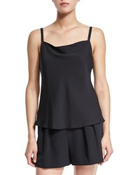 Milly Stretch Silk Bias Camisole Black