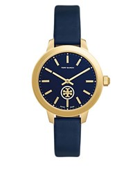 Tory Burch Collins Round Leather Band Analog Watch Navy Blue