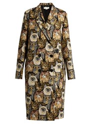 Stella Mccartney Notch Lapel Cat Jacquard Coat Multi