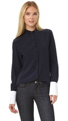 Victoria Beckham Structured Cuff Shirt Navy White