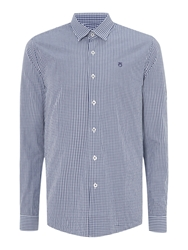 Peter Werth Ellington Cut Gingham Shirt Navy