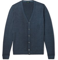Incotex Garment Dyed Wool Cardigan Navy