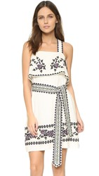 Suno Cross Stitch Tie Dress Ivory
