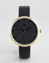 Asos Minimal Blackout Watch With Colour Pop Hand Detail Black