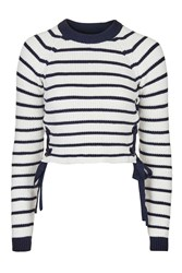 Topshop Tall Stripe Eyelet Jumper Navy Blue