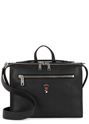 Fendi Black Leather Messenger Bag Black And Red