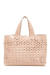 Abro Athene Woven Leather Tote Pink