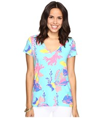 Lilly Pulitzer Michele Top Shorely Blue Sandstorm Women's T Shirt