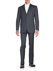 Saks Fifth Avenue Regular Fit Pinstriped Wool Suit Grey
