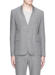 Attachment Collarless Linen Blazer Grey