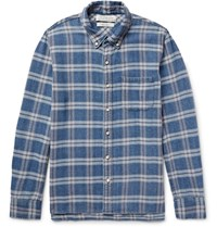 Remi Relief Rei Button Down Collar Checked Cotton Flannel Shirt Blue