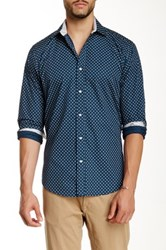 Bristol And Bull Flower Motif Long Sleeve Woven Shirt Blue
