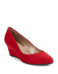 Bandolino Franci Suede Wedges Red