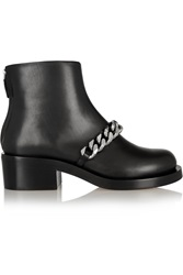 Givenchy Chain Embellished Glossed Leather Ankle Boots