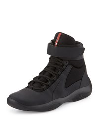 Prada America's Cup High Top Sneaker Black