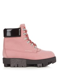 Acne Studios Telde Lace Up Suede Ankle Boots Light Pink