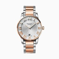 Tiffany And Co. Atlas 3 Hand 37.5 Mm Watch In Stainless Steel 18K Rose Gold. 18K Rose Gold Stainless Steel