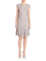 Theia Sequin Cap Sleeve Dress Platinum
