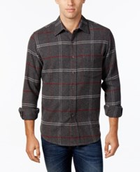 Club Room Men's Long Sleeve Plaid Shirt Only At Macy's Charcoal Heather