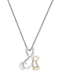 Macy's Diamond Mother And Child Cat Pendant Necklace 1 10 Ct. T.W. In Sterling Silver And 14K Gold Two Tone