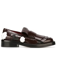 Marni Fringed Flower Applique Loafers Red