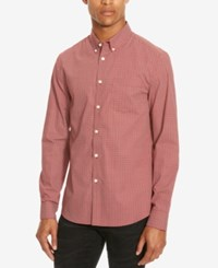 Kenneth Cole Reaction Men's Slim Fit Micro Star Long Sleeve Shirt Sedona Red Combo
