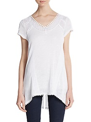 Saks Fifth Avenue Blue Crochet Trim Linen Blend Tunic White