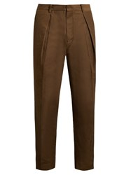 Tomorrowland Memory Wide Leg Twill Trousers Khaki