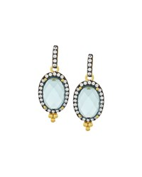 Freida Rothman Oval Aqua Cz Crystal Drop Earrings Women's
