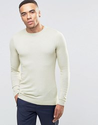 Asos Muscle Fit Crew Neck Jumper In Pale Green Cotton Pale Green