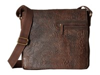 Scully Hidesign Adrian Distressed Leather Flap Over Bag Brown Bags