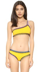 Kiini Ro One Shoulder Bikini Top Bright Yellow Multi