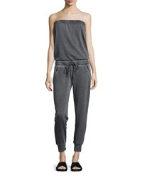 Marc New York Marc Ny Performance Strapless Fleece Jumpsuit Smoke Grey