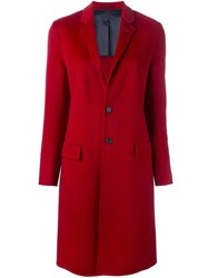 Joseph Peaked Lapels Mid Length Coat Red